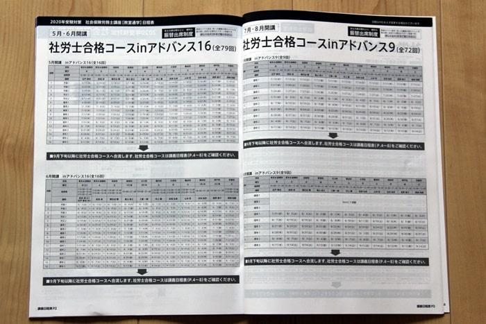 大原の社労士講座の講義日程表